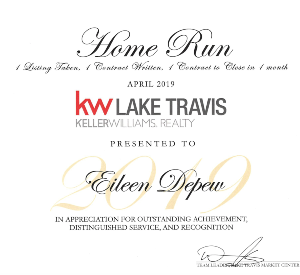 KW Lake Travis Home Run